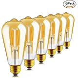 Helloify Light Dimmable Edison, Vintage Antique Style ST64(ST21) LED Filament Bulbs, 60W Incandescent Equivalent, 2500K(Amber Glass) Warm White, E26 Medium Screw Base, Pack of 6