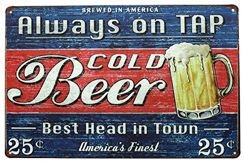 Tap Head Art (Sumik Always On Tap Cold Beer Best Head In Town, Metal Tin Sign, Vintage Art Poster Plaque Kitchen Bar Pub Home Wall Decor)