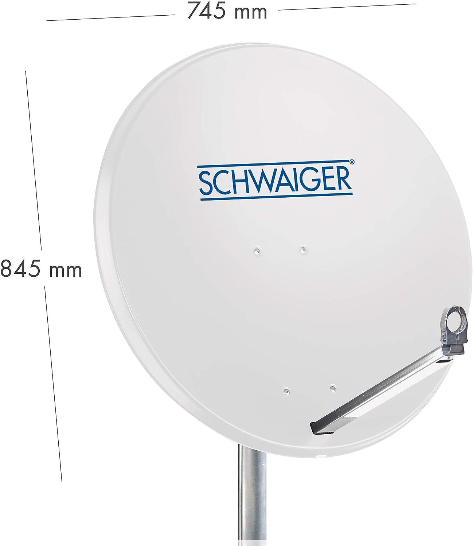 SCHWAIGER -531- Sistema de satélites | antena satelital con LNB cuádruple (digital) y 8 conectores F de 7 mm | antena satelital de aluminio | gris ...