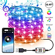 Fairy String Lights USB Fairy Lights Plug in Color Changing Led String Lights RGB Starry Lights Sync Music Firefly String Lights Bluetooth APP Timer Twinkle Wire String Lights Bedroom (16.4FT/5M)