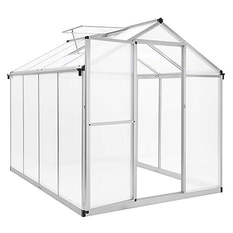 SONGMICS Invernadero de policarbonato, Invernadero de Aluminio con Puerta Abatible, Ventana, Canalón de