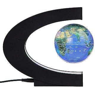 Globo di levitazione magnetica Forma C Mappa del mondo Trasmissione wireless Con luci a LED per la decorazione domestica