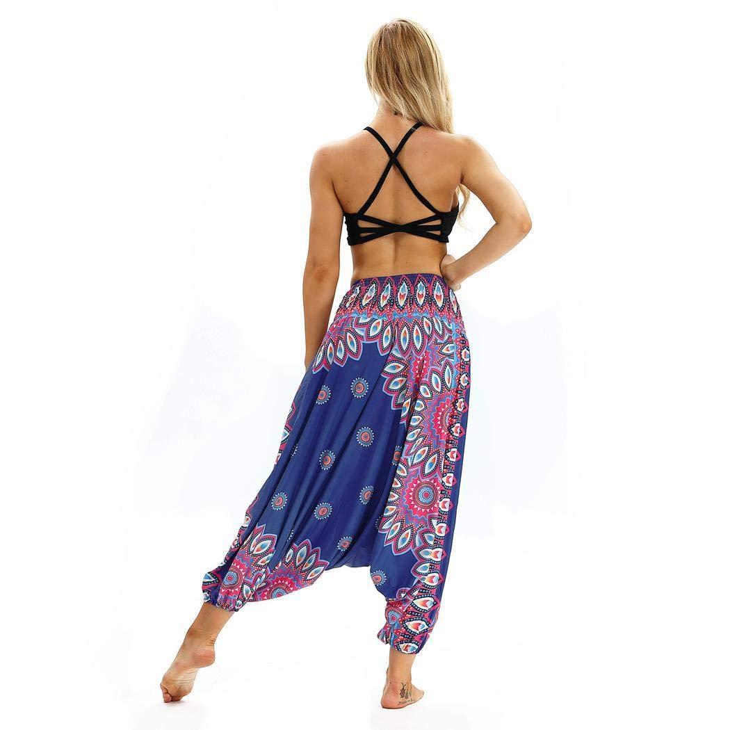 6431247c66 neudas Women Casual Print Elastic Waist Loose Wide Leg Yoga Pant Pants Blue
