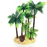 QHGstore arbre 14CM Aquarium Fish Tank Palm Trees Landscaping Ornement Simulation