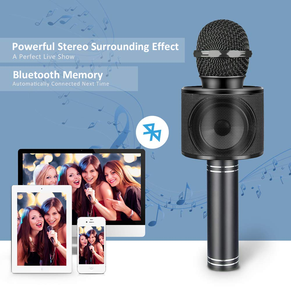 Microphone for Kids, Wireless Portable Handheld Karaoke Microphone Bluetooth Kids Karaoke Microphone Best Fun Gifts for 5-14 Year Old Boys Girls Black DMHK5 by LET'S GO! (Image #3)
