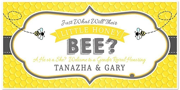 Just What Will Their Little Honey Bee? Baby Shower Banner Personalized  Gender Reveal Party Backdrop