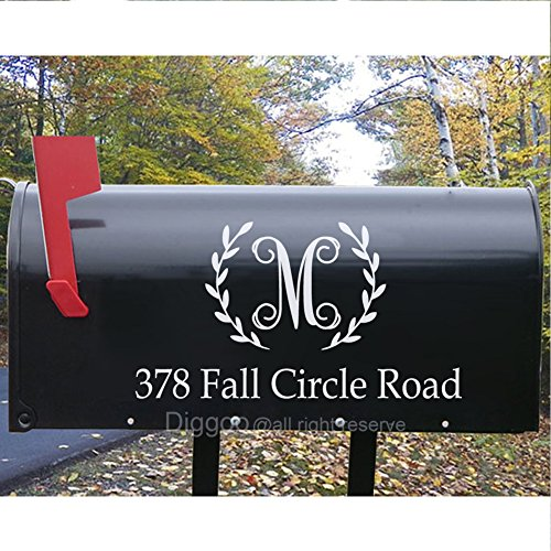 Set of 2 Mailbox Monogram Decal Personalized Mailbox Address Decal Mailbox Number Vinyl Lettering (5.5