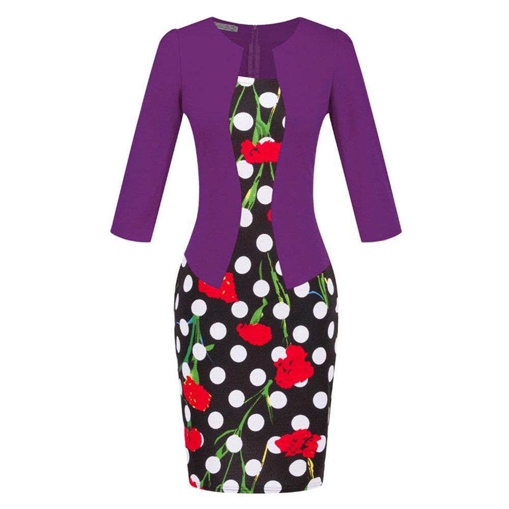 Fortuning's JDS® Stilvolle Bodycon Faux Twinset Design Halbe Ärmel Reich Taille mit Gürtel Mini Kleid für Frau, S-3XL Europa Größe