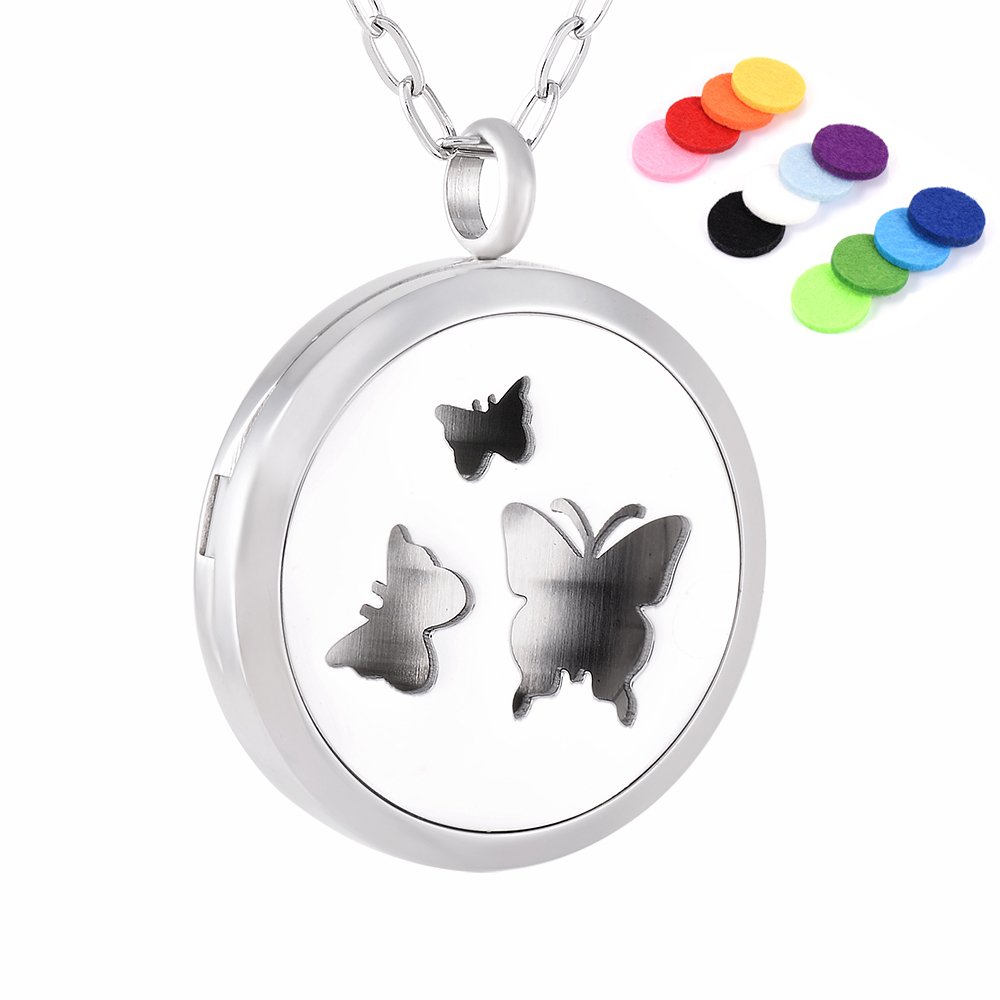 Finely Crafted Three Butterfly Stainless Steel Women Essential Oil Diffuser Locket Pendant Necklace