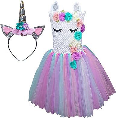 Amazon.com: Disfraz de unicornio para niñas vestido ropa ...