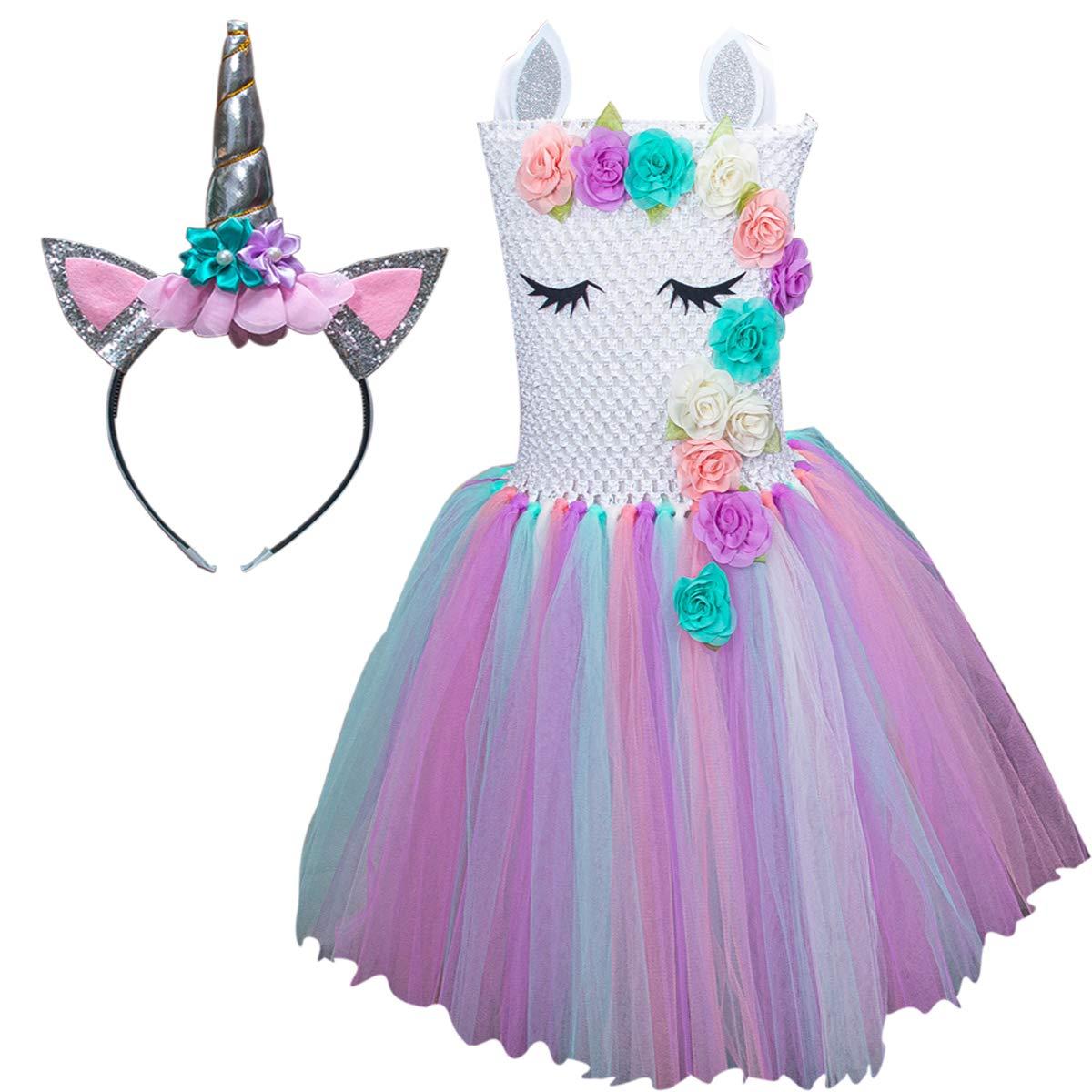 ユニコーンコスチューム 女の子用 ドレスアップ衣装 女の子用 レインボーユニコーンチュチュ ヘッドバンド付き 誕生日ギフト L(5T-6T) カラー1 B07NVL3DB7