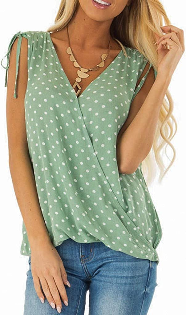 BOLUBILUY Women Sleevelees Shirts,Summer V Neck Polka Dot Tank Tops Lightweight Shoulder Strap Loose Flowy Tops Tunics