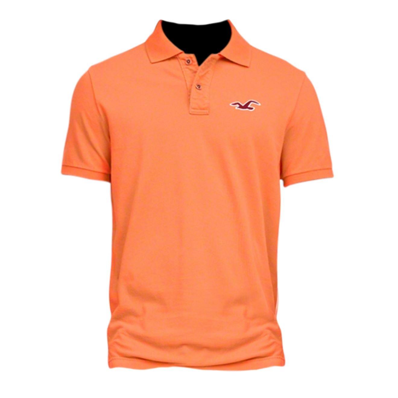 Hollister hombre contraste icono polo Shirt Tee Naranja naranja X ...