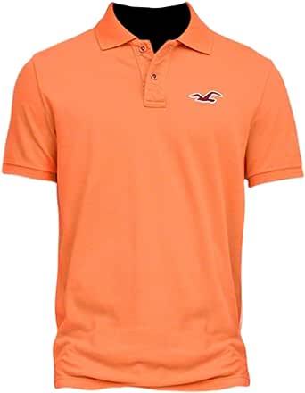 Hollister hombre contraste icono polo Shirt Tee Naranja ...