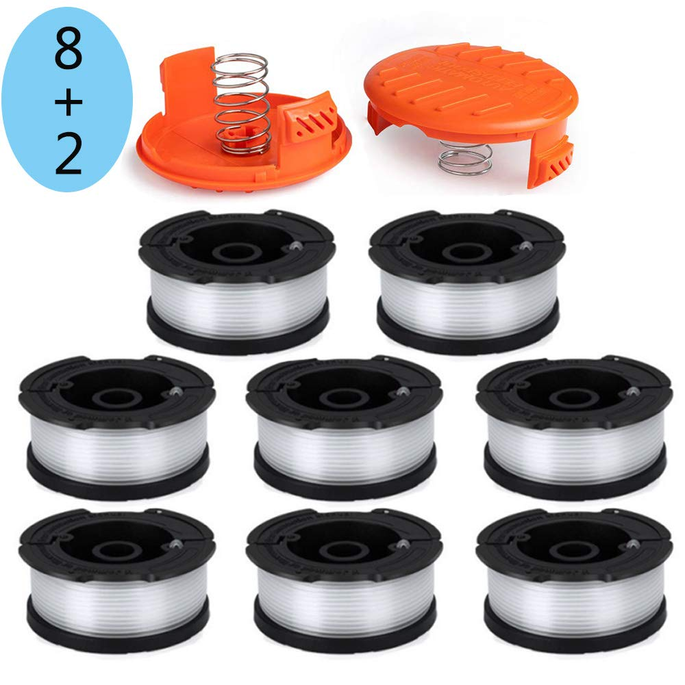 LIYYOO Line String Trimmer Replacement Spool 30ft 0.065'' for Black and Decker String Trimmer AF-100 Replacement Autofeed Spool,10-Pack (8 Replacement Spool, 2 Trimmer Cap) by LIYYOO