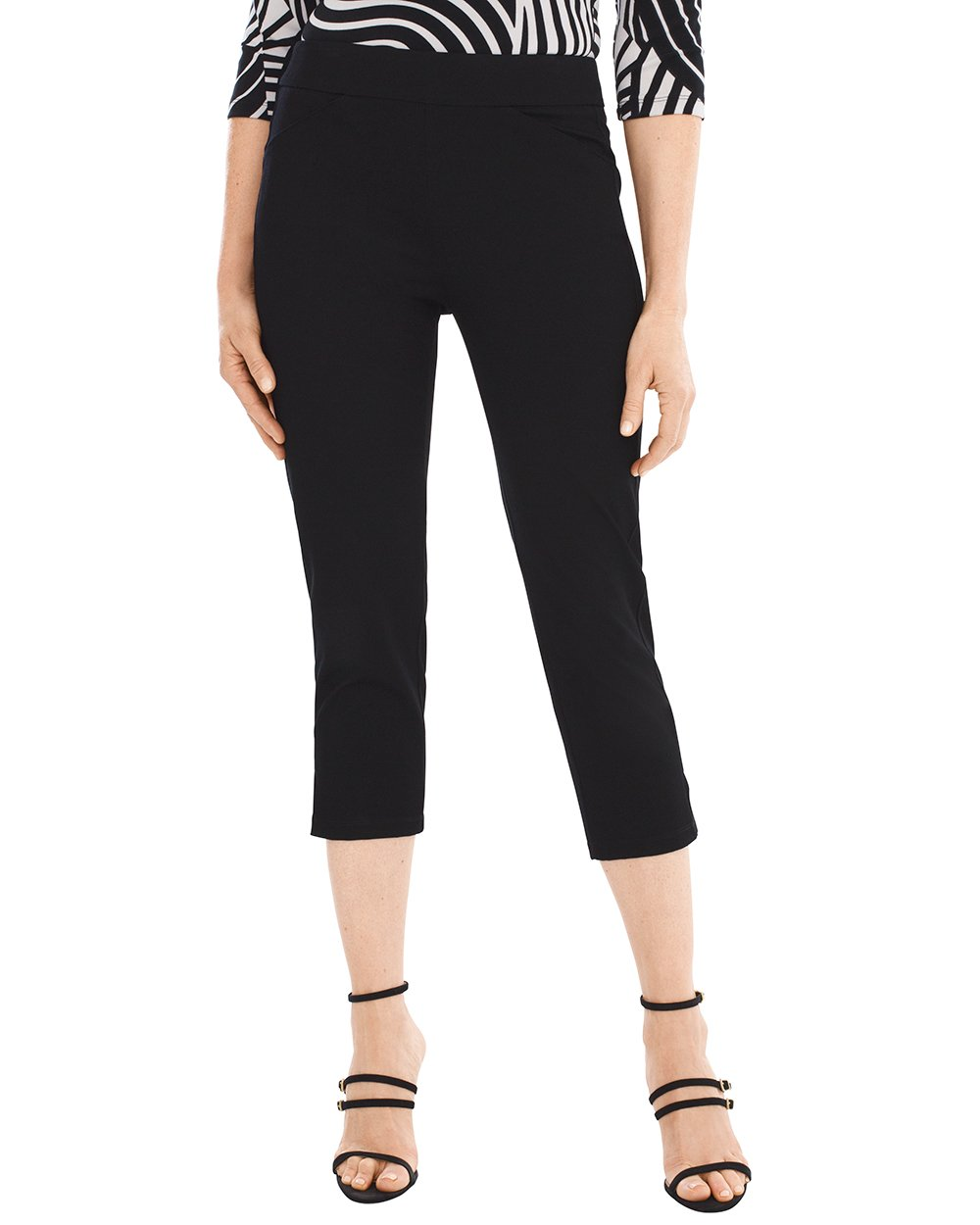 Chico's Women's Travelers Collection Crepe Crop Pants Size 16/18 XL (3) Black