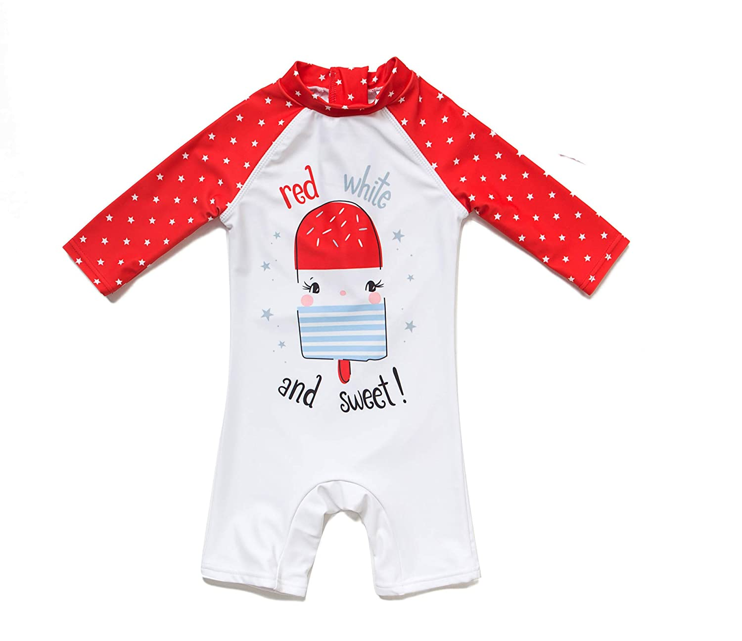 Red Stripe,18-24Months Bonverano Baby Girls UPF 50 UV Protection One Pieces Sunsuit with Sun Cap