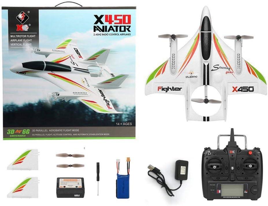 6G RC Hubschrauber Vertikalstart LED RC Segelflugzeug Starrfl/ügel RC Flugzeug ALTERDJ XK X450 2.4G 6CH 3D