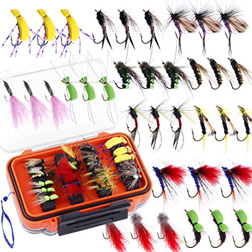 ODDSPRO Fly Fishing Flies Kit, 36/78Pcs Fly Fishing Lures, Fly Fishing Dry Flies Wet Flies Assortment Kit with Waterproof Fly Box for Trout Fishing