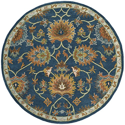Safavieh Heritage Collection HG654A Handcrafted Traditional Navy Premium Wool Round Area Rug (6' Diameter)