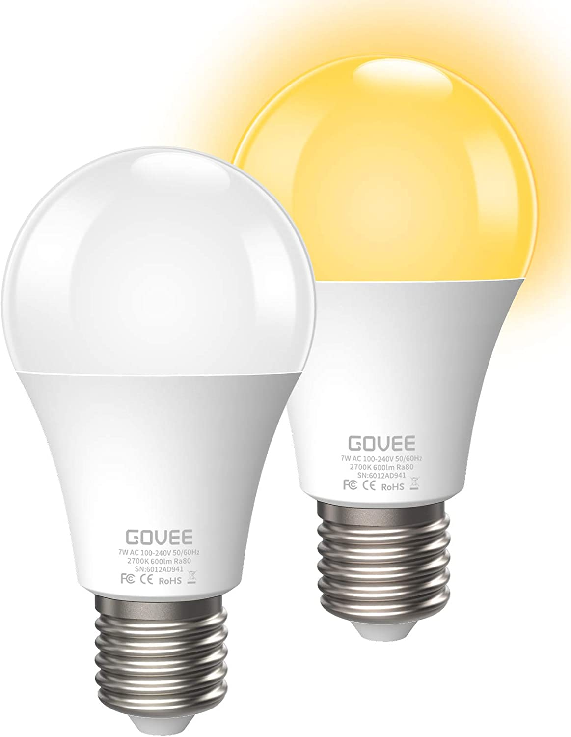 Govee Dusk to Dawn Light Bulbs Outdoor, Soft White Light Blubs 7W 2700K 600lm Auto On/Off Smart Bulb, E26/E27 Blubs for Garage Stairs Porch Courtyard Basement Patio, 2 Pack