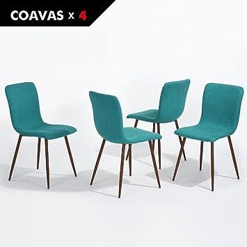 4er Stuhl Set Coavas Stoff Kissen Küche Stühle Mit Soliden Metall Beinen  Für Esszimmer