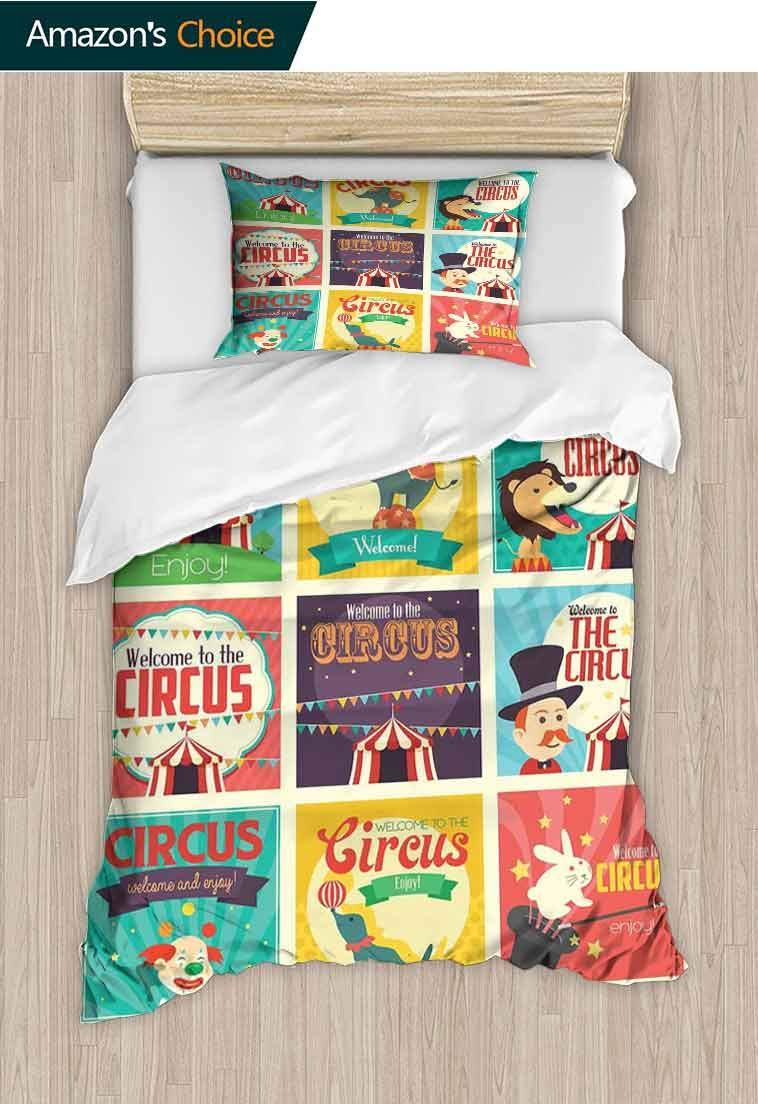 Circus Custom Made Duvet Cover and Pillowcase Set, Collection of Old Circus Icons Carnival Magicians Old Fashioned Nostalgic Festive, Reversible Coverlet, Bedspread, Gifts for Girls Women Multicolor