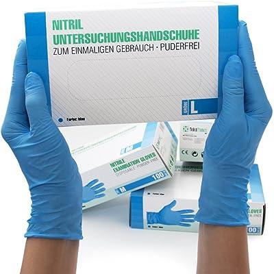 Guantes de nitrilo Caja de 100 piezas (L, azul) sin polvo guantes desechables, sin látex guantes de examen, no estériles