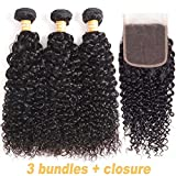 VTAOZI Hair Brazilian Virgin Curly Hair 3 Bundles with Lace Closure Free Part 100% Unprocessed Brazilian Kinky Curly Human Hair Bundles with 4x4 Lace Closure Natural Color (16 18 20 + 14 Free Part)