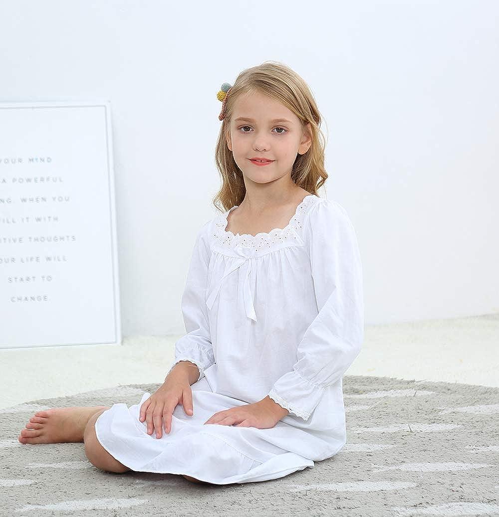 Bianco Age 3-12 Bianco Flwydran Ragazze Camicia da Notte 100/% Cotton da Fata Camicia da Notte