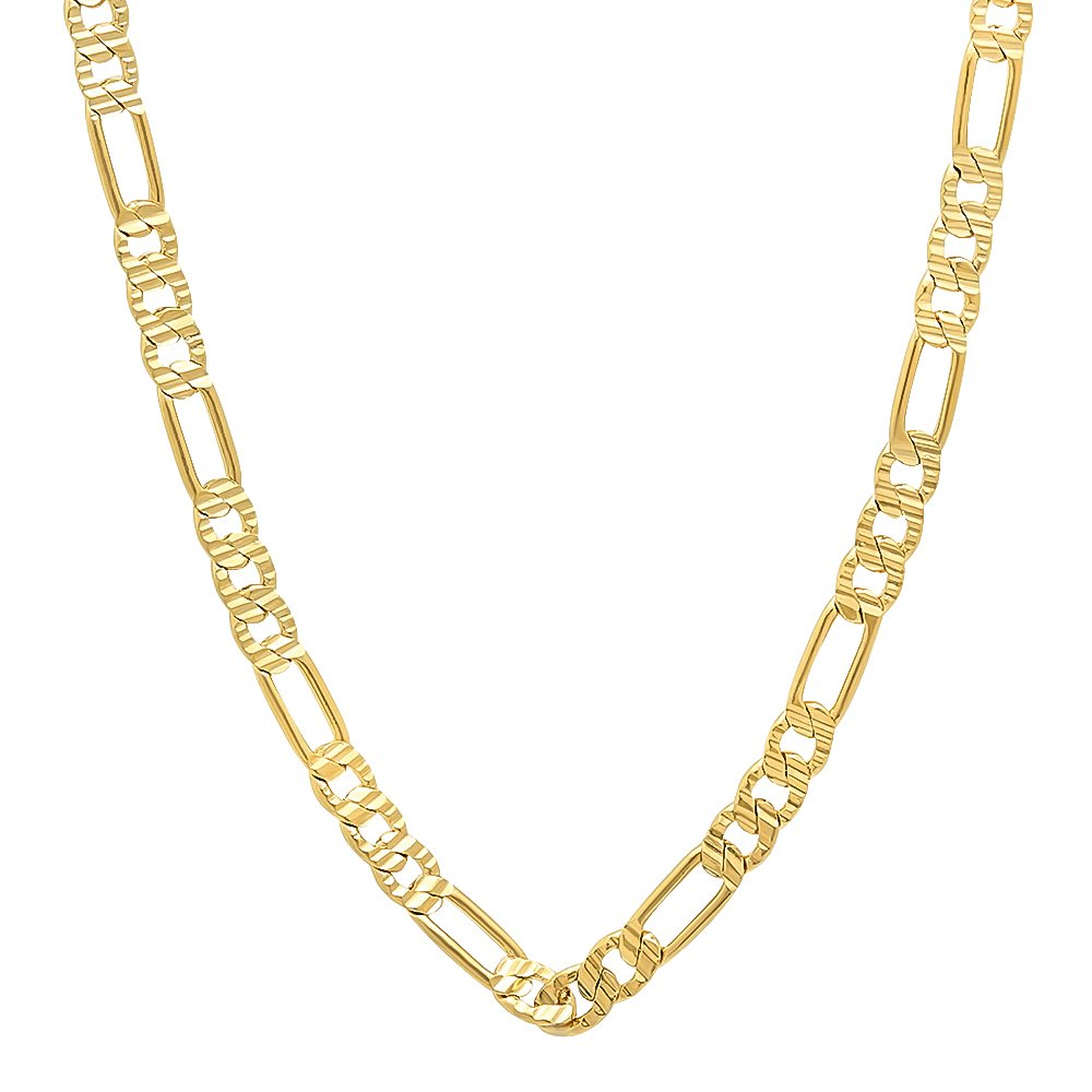 The Bling Factory 4mm 14k Gold Plated Grooved Figaro Link Chain Necklace, 16'' + Microfiber Jewelry Polishing Cloth