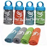 "SOUL TOW | 4 Pack | Cooling Towel (40"" x 12"") Ice Towel, Breathable and Chilly - Stay Cool for Yoga, Sports, Running, Gym, Workout, Camping, Fitness, Pilates & More Use as Neck Wrap Headband Bandana"