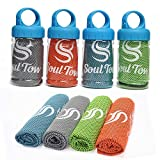 SOUL TOW | 4 Pack | Cooling Towel (40'' x 12'') Ice Towel, Breathable and Chilly - Stay Cool for Yoga, Sports, Running, Gym, Workout, Camping, Fitness, Pilates & More Use as Neck Wrap Headband Bandana