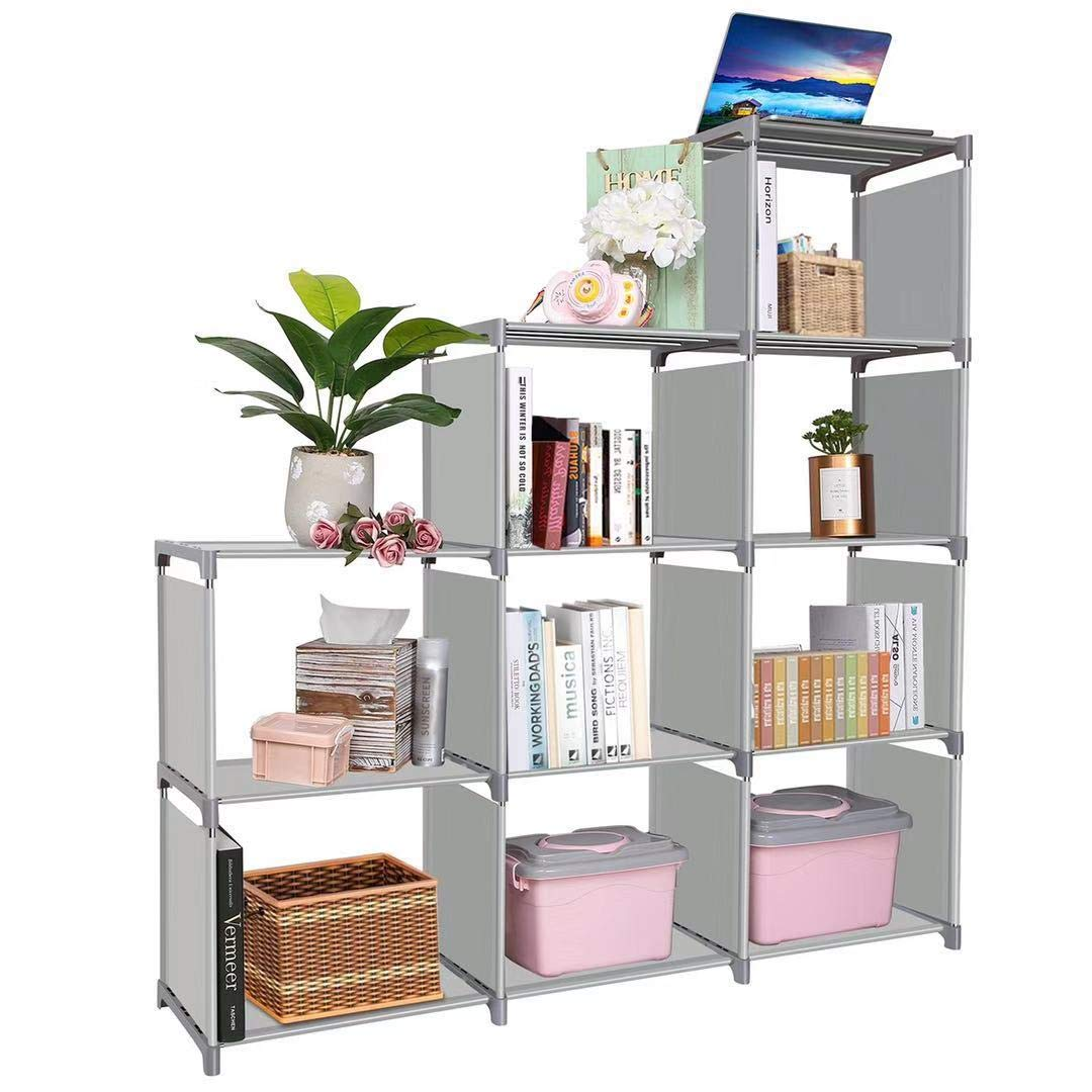 Clewiltess 9 Cube DIY Storage Bookcase,Bookshelf for Kids,Home Furniture Storage Shelves Closet Organizer Rack Cabinet for Bedroom Living Room Office Grey