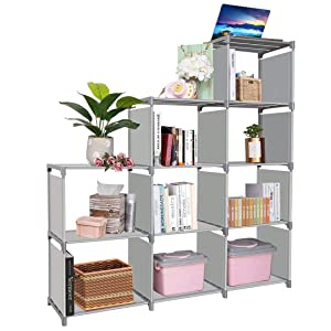 Clewiltess 9 Cube DIY Storage Bookcase,Bookshelf for Kids,Home Furniture Storage Shelves Closet Organizer Rack Cabinet for Bedroom Living Room Office (Grey)