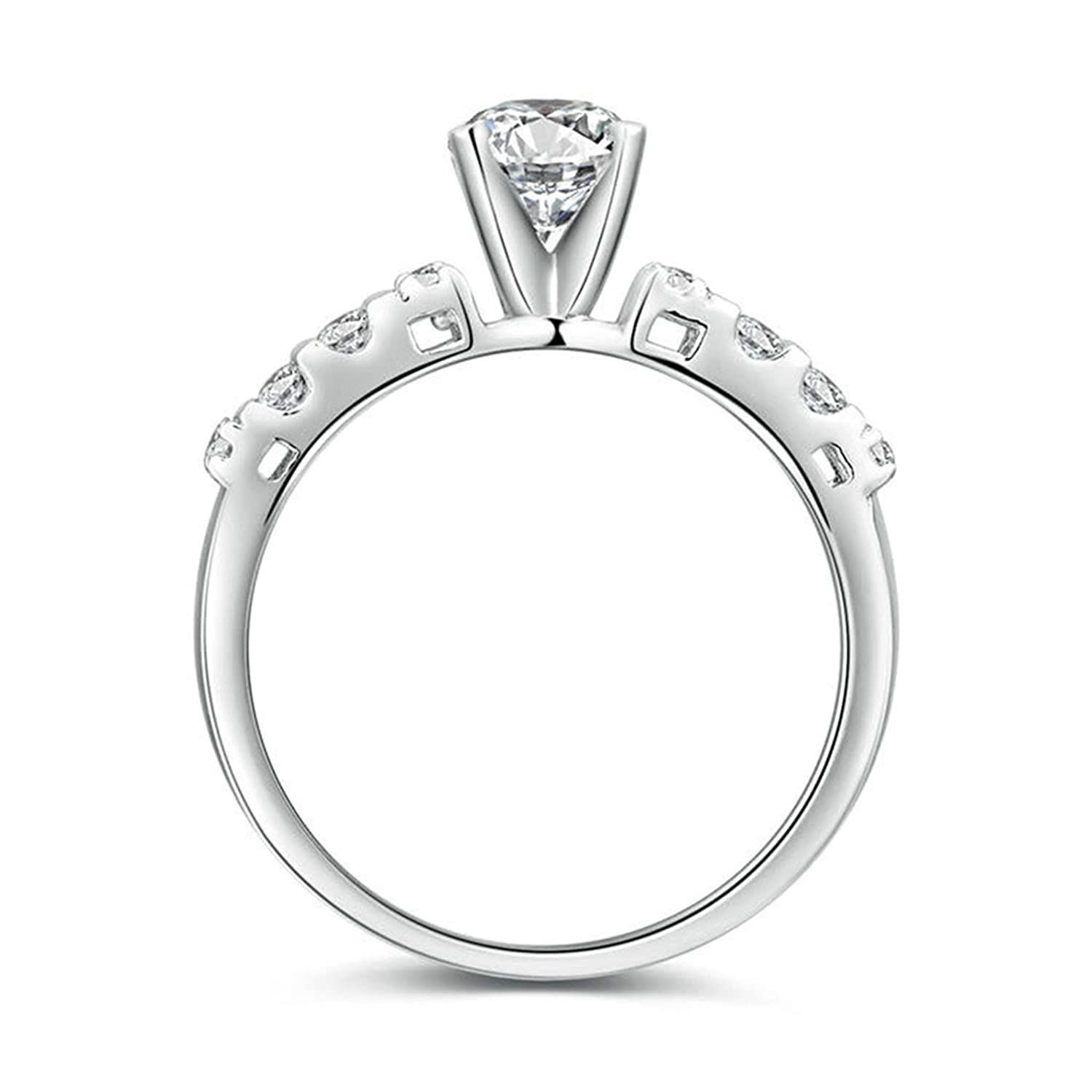 Free Engraving Silver Plated Rings Engagement Diamond Rectangle Inlay 4-Prong Single with White Cubic Zirconia CZ 5-12 Adisaer