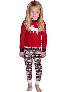 Imixcity Set de 2 Piezas Pijama de la Mujer Ropa de Dormir Familia de Navidad Moose