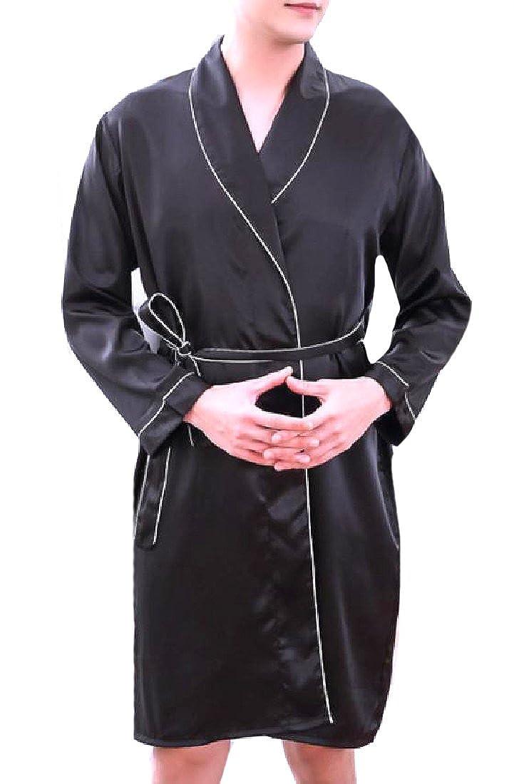 CuteRose Men Long-Sleeve Silky Mid Weight Kimono Oversized Spa Robe