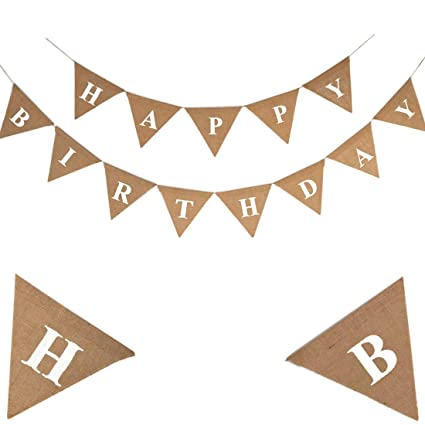 amazon com happy birthday banner burlap banner rustic burlap