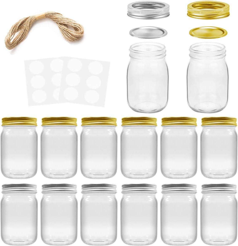 Mason Jars, SPANLA 16 OZ Mason Jars Glass Jars with Regular Lids and Bands, Ideal for Jam, Honey, Wedding Favors, Shower Favors, Baby Foods, DIY Magnetic Spice Jars, 12 PACK, 12 Whiteboard Labels