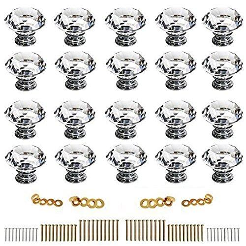 - Sumnacon 20 Pcs 40MM (1.57inch) Clear Crystal Door Knobs - Diamond Wardrobe Doorknob/Crystal Drawer Knobs/Cabinet Handle Pulls/Cupboard Handle Knobs/Door Pull Handle with Screws with 3 Kinds Screws