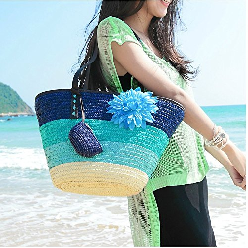 Blu Tracolla Paglia Fiore Donne A Moda Borsa Spiaggia Vacanza Arcobaleno Deley Estate ZFSBxwWPwq