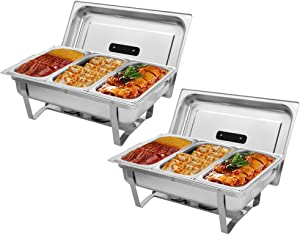 ROVSUN 8 Quart Chafing Dish, Stainless Steel Catering Serve Chafer, Restaurant Food Warmer, Rectangular Buffet Stove with 3 1/3 Size Food Pans and Foldable Frame for Party (2 Packs)