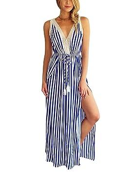 Mena Uk V-cuello de las mujeres atractivas impresas las rayas del mini vestido de