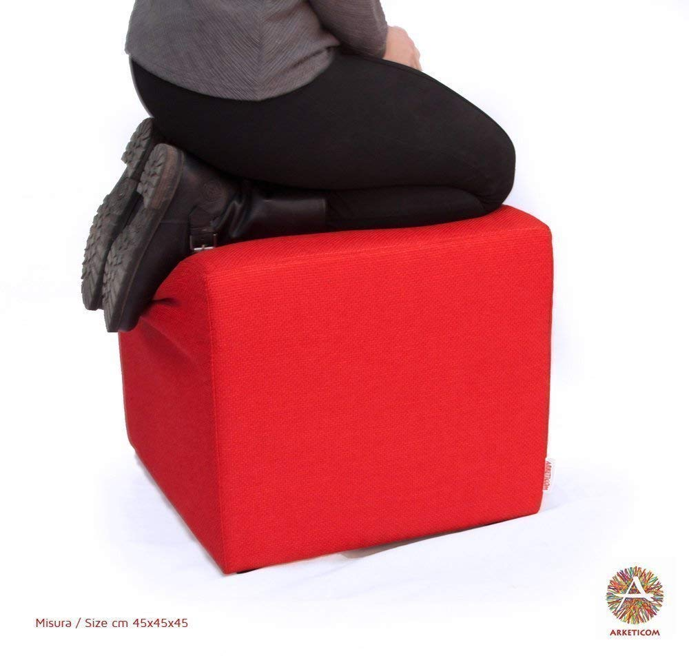 My Cube, Pouf Cubo Poggiapiedi Sfoderabile e Poliuretano Alta Densità, disponibile in vari colori TESSUTI e misure.