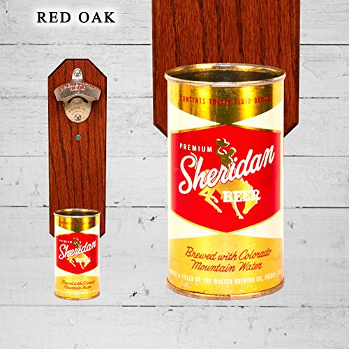 Wall Mounted Bottle Opener with Vintage Sheridan Beer Can Cap Catcher