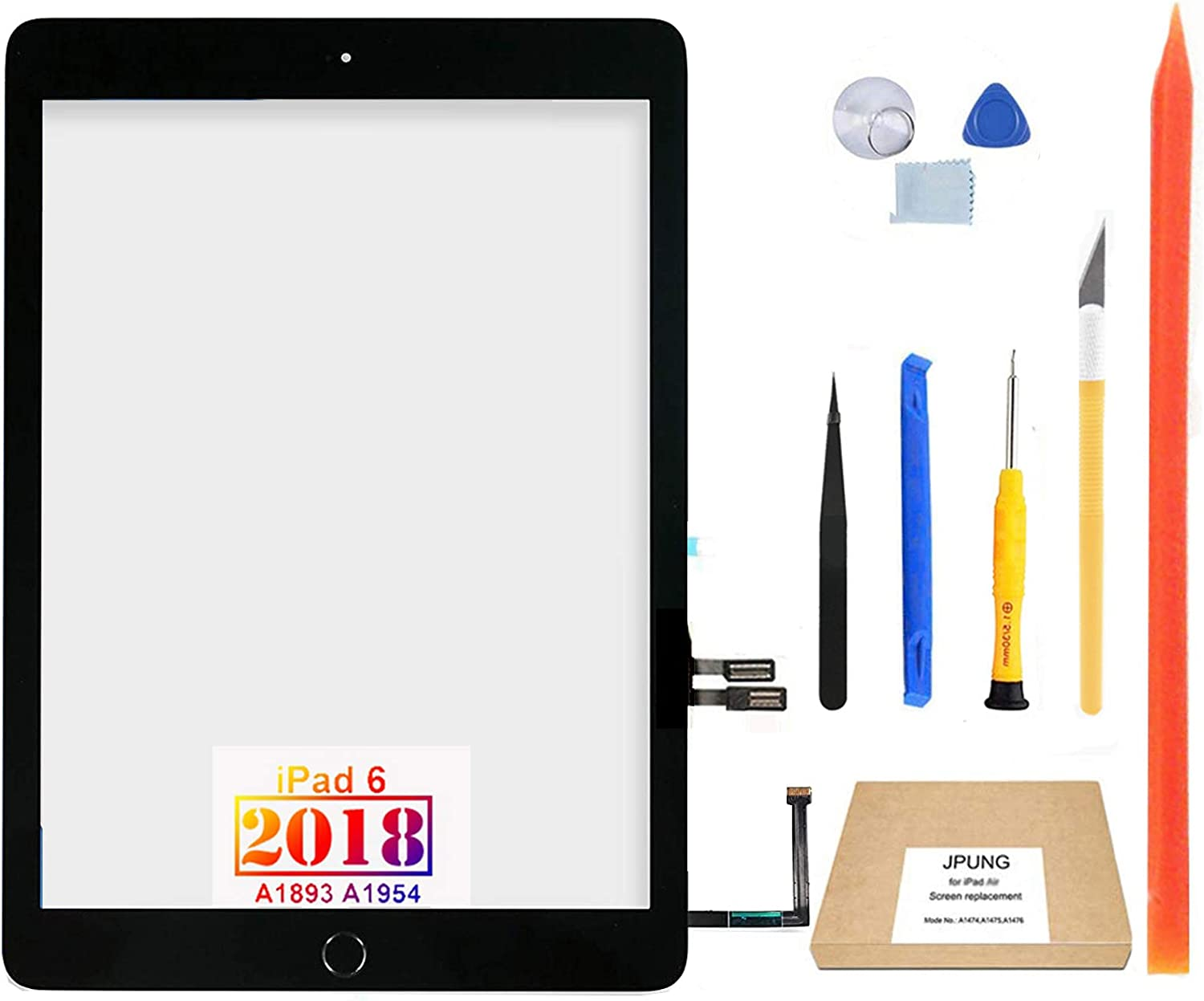 """JPUNG Touch Screen Replacement for iPad 6 6th Gen Digitizer 2018 9.7"""", Only for 6th Generation A1893 A1954, with Home Button, Full Repair Kit, Camera Holder, Pre-Installed Adhesive"""