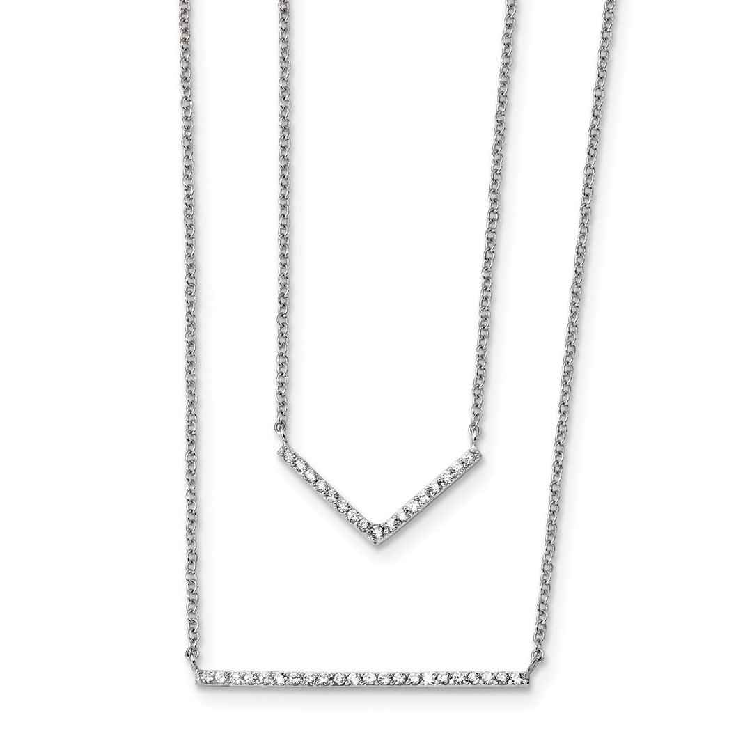 ICE CARATS 925 Sterling Silver Cubic Zirconia Cz Double Bar Multi Strand Chain Necklace Pendant Charm Fine Jewelry Ideal Gifts For Women Gift Set From Heart