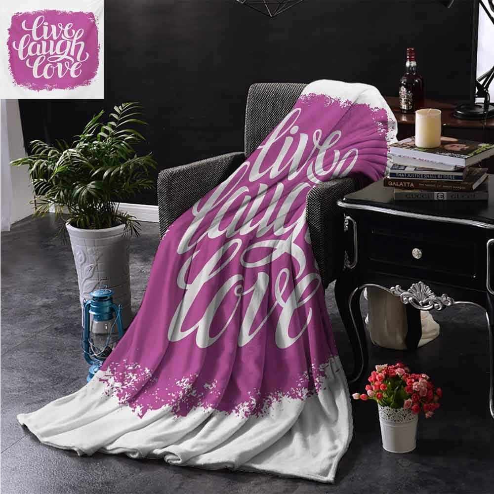 PCNBDJC Multipurpose Blanket Live Laugh Love Motivational Lifestyle Typography on Paintbrushes Urban Illustration Suitable for Every Season W60 x L91 Inch Fuchsia White