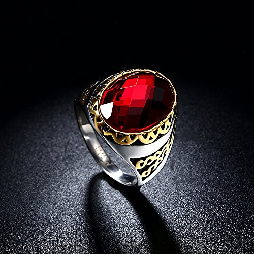 Wonderful Dilanco Men's Oval Ruby Rings With 14K Gold Plated,Size 9-11  WH99